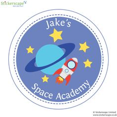 Personalised space wall sticker by Stickerscape - available in two sizes and customisable with your child's name