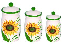 Set of 3 Sunflower Design Hand Painted Ceramic Canister Jars with Tight Lids for Kitchen or Bathroom.quality Airtight Jar with Lids, with Wide Mouth, Looks Great on Your Kitchen Counters *** Tried it! Love it! Click the image. : Kitchen Storage Organization Sets