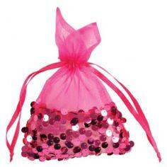 Sachet organdi fuchsia à paillettes sequin 22 cm les 4, déco pink, rose, fuchsia, wedding pink, baby shower, mariage rose pink