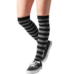 Urban Classics. Overknee high socks grijsh black/grey horizontal stripes