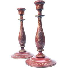 Vintage Florentine-Style Red Wooden Candlesticks - a Pair ($125) ❤ liked on Polyvore featuring home, home decor, candles & candleholders, candle holders, wood candleholders, wooden candle stick, wooden candlesticks, wooden candleholder and wooden home accessories