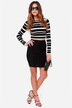 If Lulus charted our top ten each week, we would be sure to include the Crop Culture Black and White Striped Cropped Sweater! This stretchy knit sweater has a sexy cropped length. Black White Fashion, Black And White, Cropped Sweater, Culture, Sexy, Sleeves, Sweaters, How To Wear, Cotton