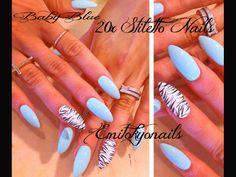 20xBaby Blue Stiletto Nails,Zebra,Hand painted False Nails,Press on nails+Glue