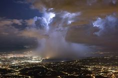 This photo was taken on the same day as the AWAKE (Advanced Wakefield Experiment) at CERN. It's the world's first proton-driven plasma wakefield acceleration experiment. What Causes Thunderstorms, Weather Science, Nova, The Searchers, Wild Weather, Severe Storms, Thunder And Lightning, Severe Weather, Conspiracy Theories