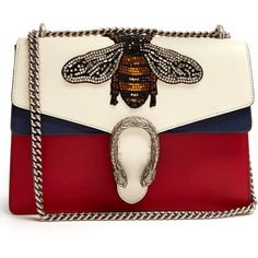 Gucci Dionysus large bee appliqué shoulder bag (€3.550) ❤ liked on Polyvore featuring bags, handbags, shoulder bags, gucci, blue multi, gucci shoulder bag, red leather shoulder bag, red shoulder bag, blue leather purse and chain shoulder bag