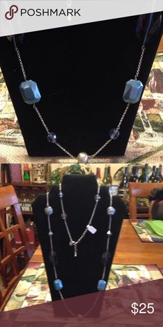Lia Sophia Voyage necklace Glass and resin blue beads Lia Sophia Jewelry Necklaces