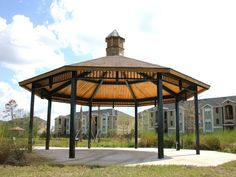 Octagon Steel Frame Shelter Manufacturer | RCP Shelters Wood Laminate, Fabric Shades, Engineered Wood, Shelters, Steel Frame, Gazebo, Outdoor Structures, Park, Deck Gazebo