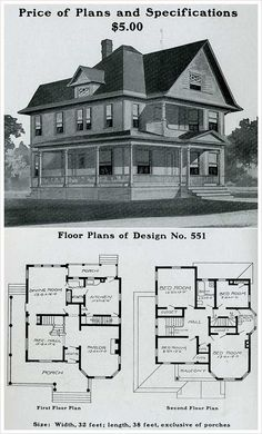victorian houses floorplans   print for wall art   Craft DIY Ideas     Radford   1903   Queen Anne  prominent forward gable  free classic  elements  wrapped  Vintage House PlansVictorian