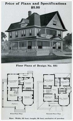 Vintage Farmhouse Plans radford - 1903 - colonial revival, pedimented, full width front