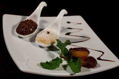 4Doze (Almoço e Jantar): Trilogia doce beijinho e brigadeiro de menta na colher e damasco ao chocolate.