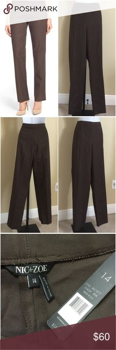 NIC + ZOE Brown Pants Size 14 Nic+Zoe Women's Dress Pants Size 14 Brown Color Side Zip 1 Hidden Button & Tab Closure Extra Button Included No Pocket Design Elastic Waistband For An Extra Inch Or So Machine Washable 51% Rayon 45% Cotton 4% Spandex Inseam Approx. 32 Inches Rise Approx. 12 Inches Waist Approx. 34 Inches Hips Approx. 42 Inches Cuff Approx. 17 Inches Compare Measurements To Your Own Well Fitting Garment To Ensure A Great Fit MSRP $ 128.00 New With Tag NIC + ZOE Pants Straight Leg
