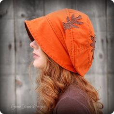 Orange Oak Slouchy Beanie Hat Recycled T-shirt Hat