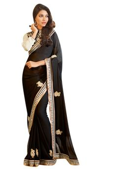 Designer PartyWear Chiffon Black Embroidered Saree with Georgette Dhupion blouse