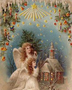 WEIHNACHTEN ENGEL vor KIRCHE ANGEL HALT GEGEN LICHT HTL LITHO 1902 RAR !!! | eBay