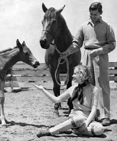 Clark Gable and Carole Lombard on their ranch