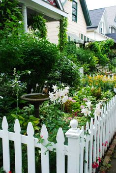 Yes i am a hopeless romantic- i want a white picket fence & cottage garden in my front garden Picket Fence Garden, White Picket Fence, Garden Fencing, Picket Fences, Country Fences, Easy Garden, Dream Garden, Garden Planning, Cottage Style