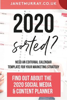 Editorial Calendar: Yes, You DO Need One! (And The 2020 Media Diary Will Make Content Planning Easy) – Janet Murray – Calendar Template İdeas. Social Media Automation, Social Media Analytics, Social Media Content, Social Media Marketing, Marketing Automation, Digital Marketing Logo, Facebook Marketing, Social Media Planner, Social Media Calendar Template