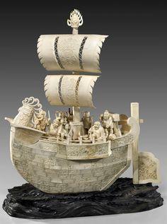 象牙船 (8), Art Ivory boat.