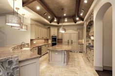 Beautiful kitchen love the marble floors