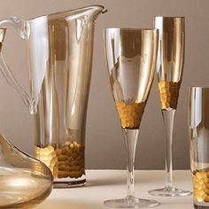 Hand blown glassware with hand cut facets and hand painted gold accents. Kitchen Ware, The Perfect Touch, Gold Accents, Cleaning Wipes, Dinnerware, Hand Painted, Table Decorations, Tableware, Gifts