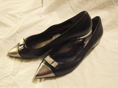 Coach Wynter Pewter (Silver) & Black Leather Flats Shoes with Bow 7 $198