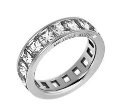 b3c2e1d81e14 Michael Kors MKJ4751 Park Ave Silver tone Princess Cut Crystals Eternity  Ring 8