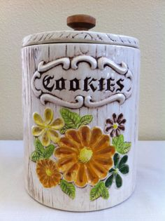 Floral Cookie Jar made in USA by Treasure Craft