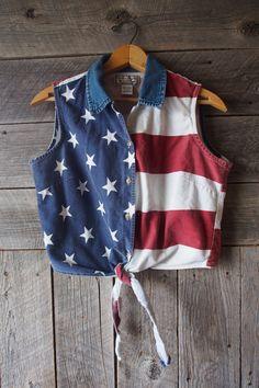 Vintage American Flag Button Down Crop Top by WindyPeakVintage