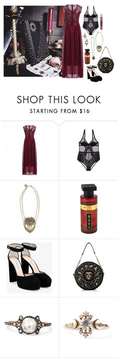 """""""Celestial Rose"""" by ghoulnextdoor ❤ liked on Polyvore featuring L'Agent By Agent Provocateur, Rock Rebel, Jimmy Choo and Preciously"""