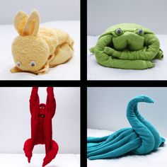 4 Cuddly Towel Animals