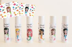 Mermaid Party Favors - Under the Sea Theme - Customized Lip Balm - Kids Lip Balm - Set of 6 - Free Customization - Lip Balm Party Favor Girls Pirate Parties, Pirate Party, Third Birthday, Birthday Ideas, Birthday Parties, Kids Party Themes, Party Ideas, Diy Ideas, Mermaid Party Favors