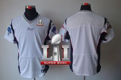 Nike Patriots Blank White Super Bowl LI 51 Men's Stitched NFL Elite Jersey