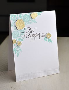 So Happy Bouquet by Maile Belles for Papertrey Ink - love the beautiful gold accents overlaying the monochrome stamped image