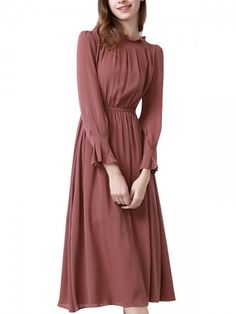 Black Cold Shoulder Midi Dress With Scalloped Neckline - Cameo Brown Gathered Detail Midi Dress Best Picture For outfits night For Your Taste You are look - Modest Fashion, Hijab Fashion, Fashion Dresses, 50 Fashion, Fashion Styles, Fashion Women, Style Fashion, Mode Outfits, Dress Outfits