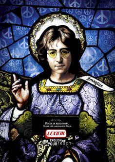"""""""Rock to religia. Mów językiem Bogów"""". Reklama brazylijskiej szkoły języków obcych Lexical, której slogan brzmi """"Angielski w zasięgu ręki"""". Na zdjęciu: John Lennon"""