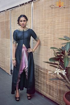 Black raw silk long jacket with shaded dupion silk dhoti pants