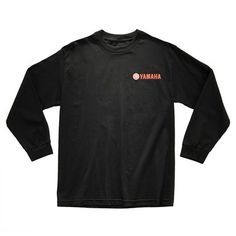 The Yamaha Red Logo Long Sleeve is made of 100% cotton. Featuring a screenprinted Yamaha logo on the front right side, this tee is available in two color options, white and black.