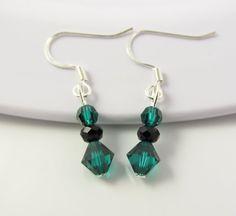 Green Crystal Earrings Emerald Green Earrings by BeadBrilliant, $12.00