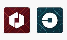 "••strange New UBER logo 2016-02-02•• inspired  in-house by ""bits and atoms""?!•• based on co-founder Travis Kalanick's 2013 blog post by same name • Riders logo = circle with a square in the middle (riders) • Drivers logo = Hexagon with a square in middle (drivers) • Why change, why now, why so strange? Excuse: 1. reflect ""transportation network"" + 2. old logo was just ""black & white, somewhat distant & cold"" 3.background patterns match country's + city's culture"