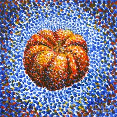 Pointillism Pumpkin Painting  - Pointillism Pumpkin Fine Art Print