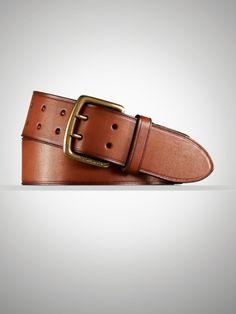 Vintage Leather Buckle Belt - Belts   Men - RalphLauren.com
