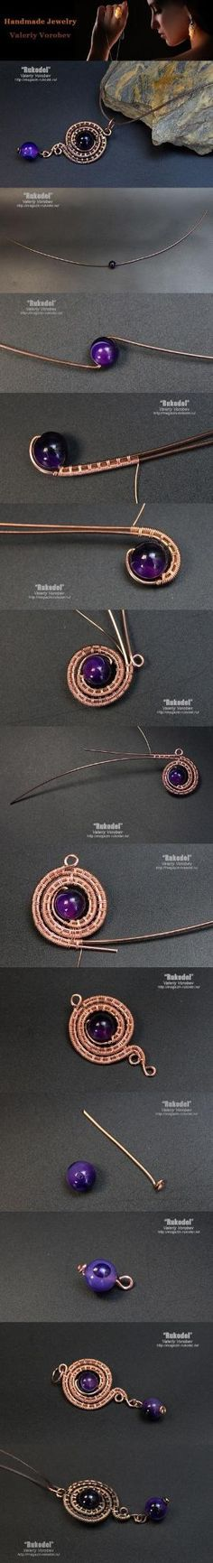 Pendant made of copper wire. Wire Wrap tutorial. by constance