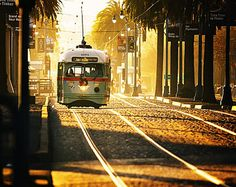 San Francisco Trolley in Morning Light- Bay Area Photography - California, Travel, Vacation, Cable Car, Street, Sunshine