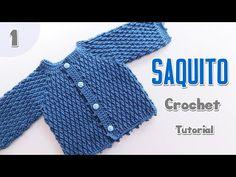 Ajuar Punto Granizo: Saquito crochet – Paso a Paso Crochet Crochet Shorts, Crochet Baby Shoes, Crochet Clothes, Knit Crochet, Knitting For Kids, Baby Knitting, Cross Stitch Baby, Baby Cardigan, Baby Dress
