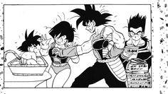 Fasha, Toma, Bardock, and baby Goku