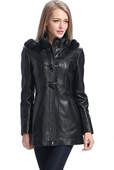 """BGSD Women's """"Amanda"""" Missy & Plus Size New Zealand Lambskin Leather Coat - L. Hidden YKK zipper front closure with snap storm flap and toggle buttons. Two exterior pockets; Removable hood with faux fur trim. A zip-out insulated polyester filling liner. Approx. length from center back: missy 29.5""""; plus 31.5"""". BGSD is a U.S.A. designed and trademarked brand. All BGSD label merchandise will be sold brand new, and will always include original brand tags and labels."""