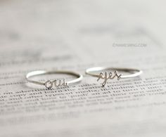 Yes ring Oui ring Sterling silver. There are so many words I could customize this with...