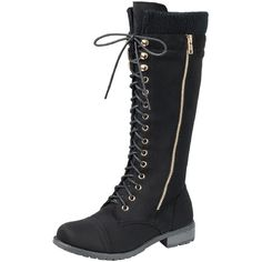 Women's Mata Shoes Women's Zipper Buckle Round Toe Military Lace-Up... ($40) ❤ liked on Polyvore featuring shoes, boots, black, buckle combat boots, army boots, black military boots, buckle boots and black boots