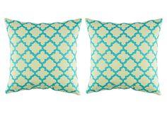 Set of 2 Lattice 18x18 Pillows, Lime on OneKingsLane.com