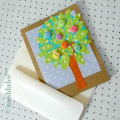 DIY Button Craft: spring tree DIY card